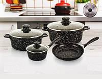 Набор посуды с мраморным покрытием, 7 предметов A-Plus 1503, фото 1