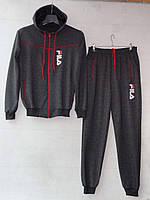 """Спортивный костюм подростковый """"Fila реплика"""". Возраст 12-16 лет (152-176 см). Темно-серый с красным. Оптом"""