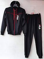 """Спортивный костюм подростковый """"Fila реплика"""". Возраст 12-16 лет (152-176 см). Темно-синий с красным. Оптом"""
