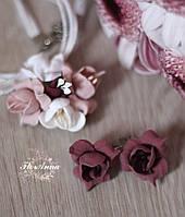 """Серьги и кулон с цветами ручной работы """"Марсаловый крем"""". Красивый подарок девушке на 8 марта"""