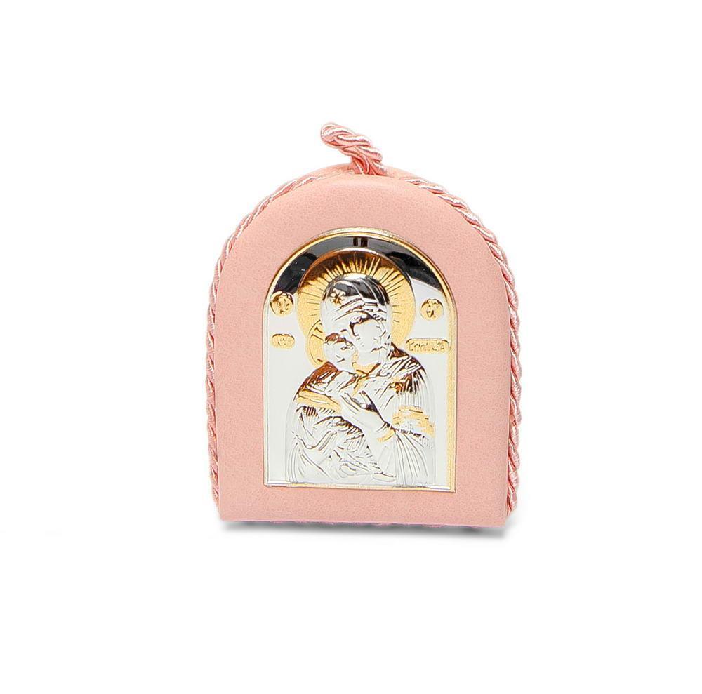 Иконка на подушечке Владимирская Божья Матерь 8х6см. (в розовом цвете )