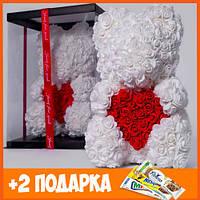 Мишка 40 см с коробкой Teddy de Luxe / искусственных цветов 3д, пенопласт Тедди