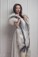 Меховая накидка боа из полярной лисы White fox fur poncho pelerine shawl