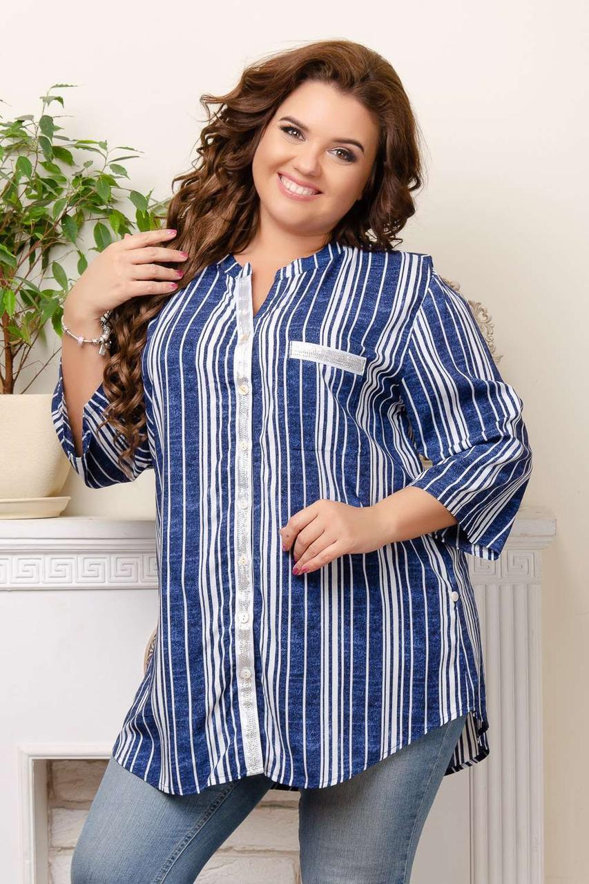 Полосатая женская рубашка супербатал 3XL-7XL (в расцветках)