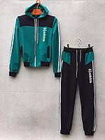 """Спортивний костюм дитячий """"Adidas репліка"""". Вік 8-11 років (128-146 см). Чорний з бірюзовим. Оптом"""