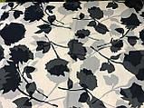 Женский шарф-палантин шифон  174х75 см  с рисунком цвет белый с черным, фото 2