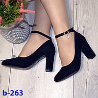 Туфли лодочки с ремешком и застежкой черные на широком высоком каблуке эко замша
