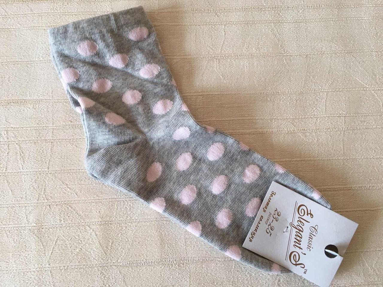 Женские носки 36-39 размер. Серые в розовый горох