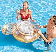 Intex 56810-gold, плавающий термо-резервуар с подстаканниками, 76см