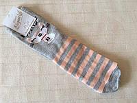 Женские носки 36-39 размер. Серые в розовую полоску с мышкой