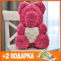 Мишка из роз 40 см с коробкой Teddy de Luxe / искусственных цветов 3д