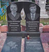 Памятник из черного гранита двойной свеча