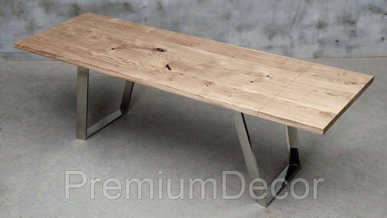 Стол из массива дерева дуба лофт мебель с отполированными стальными ногами 240Х80Х77 см