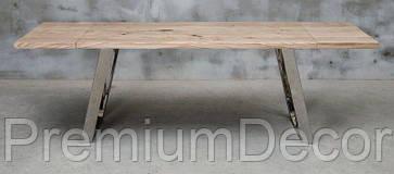 Стол из массива дерева дуба лофт мебель с отполированными стальными ногами 240Х80Х77 см, фото 2