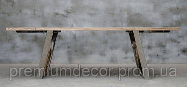 Стол из массива дерева дуба лофт мебель с отполированными стальными ногами 240Х80Х77 см, фото 3