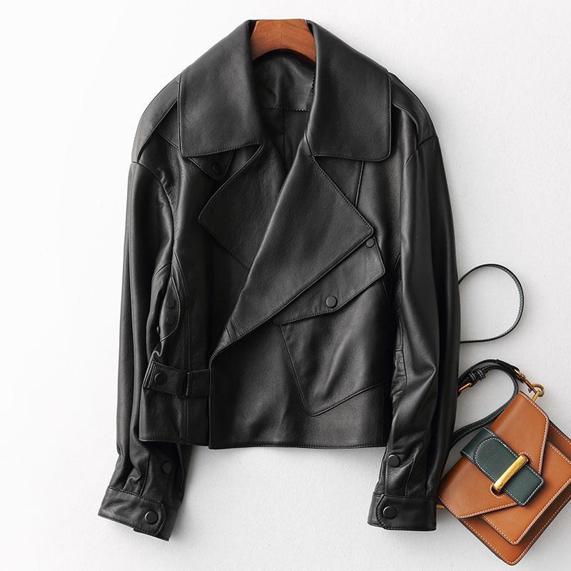 Кожаная женская куртка на запах (42-46)