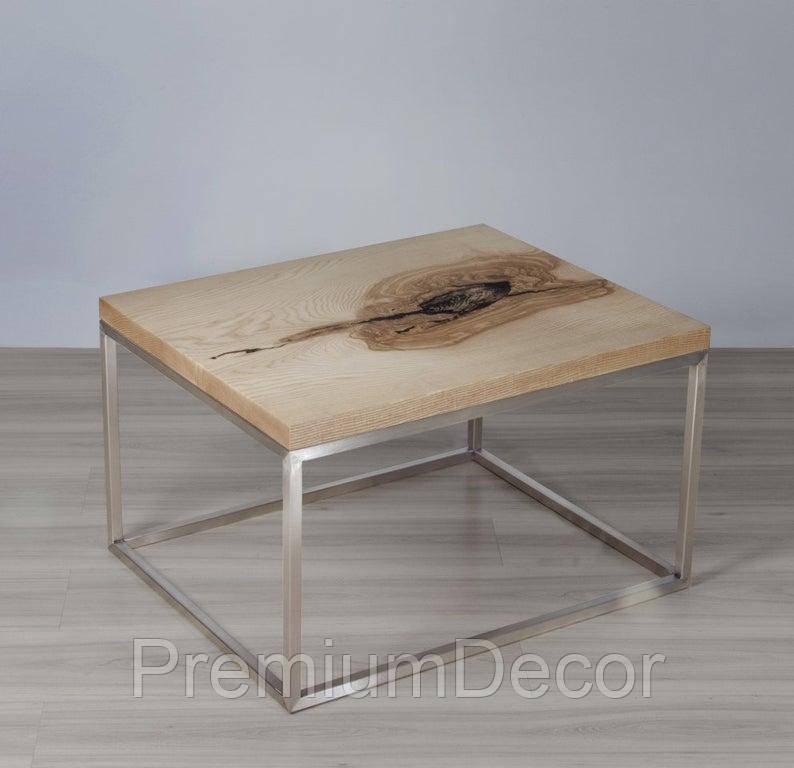 Стол из массива дерева дуба лофт мебель 73Х58Х46 см
