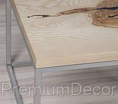 Стол из массива дерева дуба лофт мебель 73Х58Х46 см, фото 3