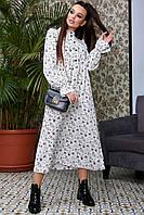 Утонченное платье с завышенной талией из костюмки 1322 (44–50р) в расцветках, фото 1