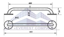 Поручень прямой, Ø 20мм - 600мм, модель PV-01-20