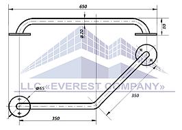 Поручень в ванную пристенный угловой, Ø 20мм - 350х350мм, модель PV-02-20