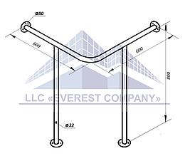 Поручень для мойки угловой стена-пол, Ø 32мм - 600х600х800мм, модель PM-04