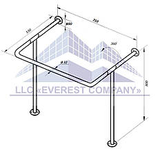 Поручень для мойки стена-пол, Ø 32мм - 530х710х800мм, модель PM-05