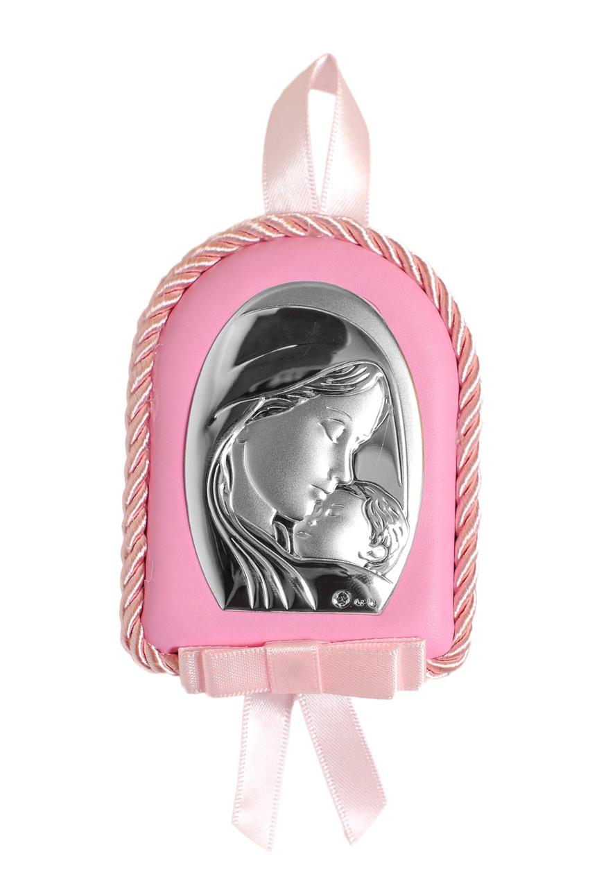 Детская Серебряная Иконка 7х9см на розовой подушечке