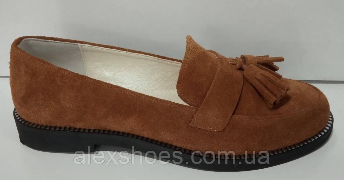 Туфли женские на низком ходу из натуральной замши от производителя модель КС9104-2