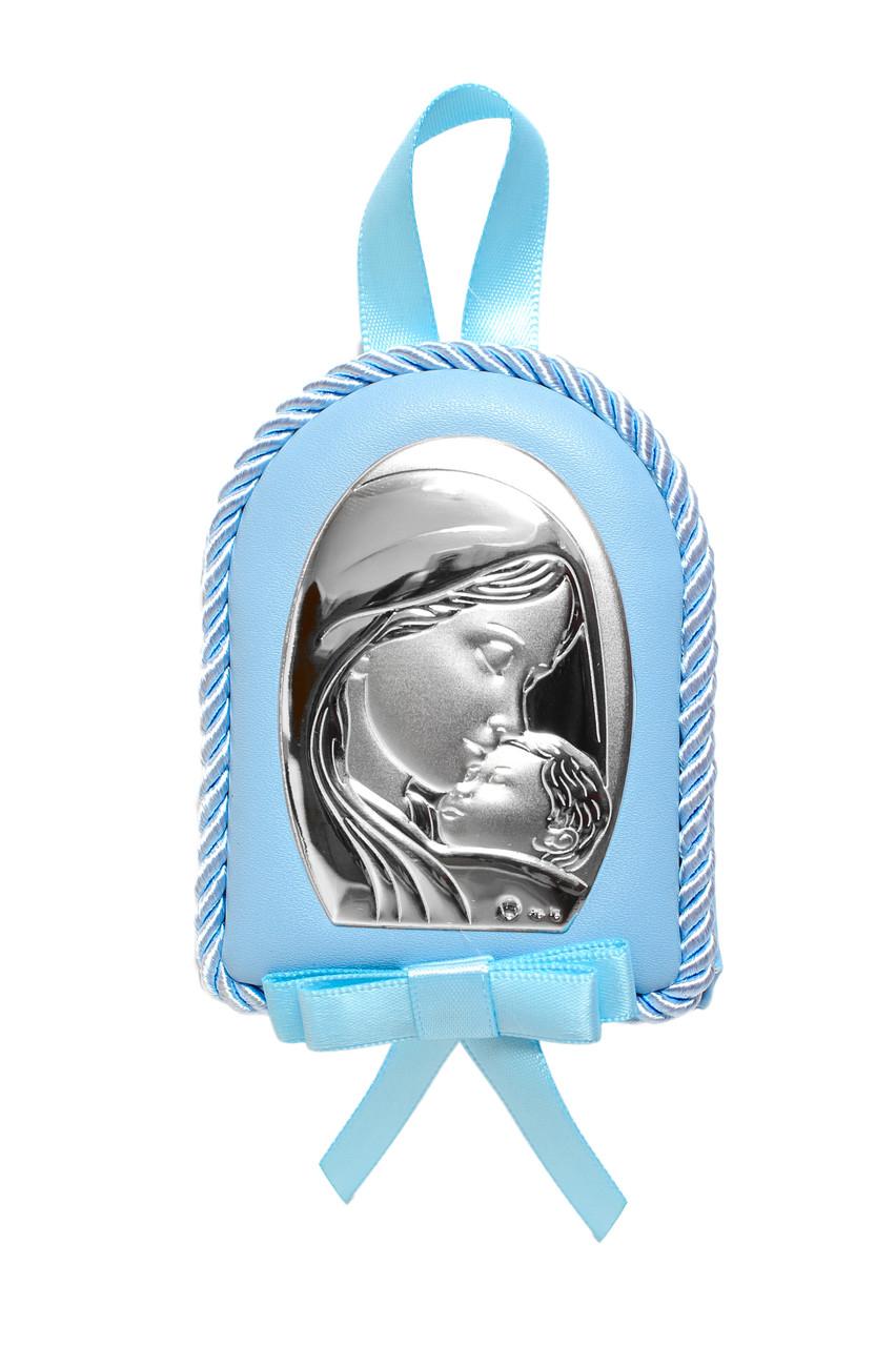 Детская Серебряная Иконка 7х9см на синей подушечке