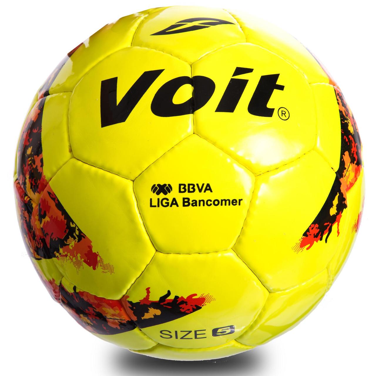Мяч футбольный №5 PU ламин. VOIT FB-0715 (№5, 5 сл., сшит вручную, желтый)