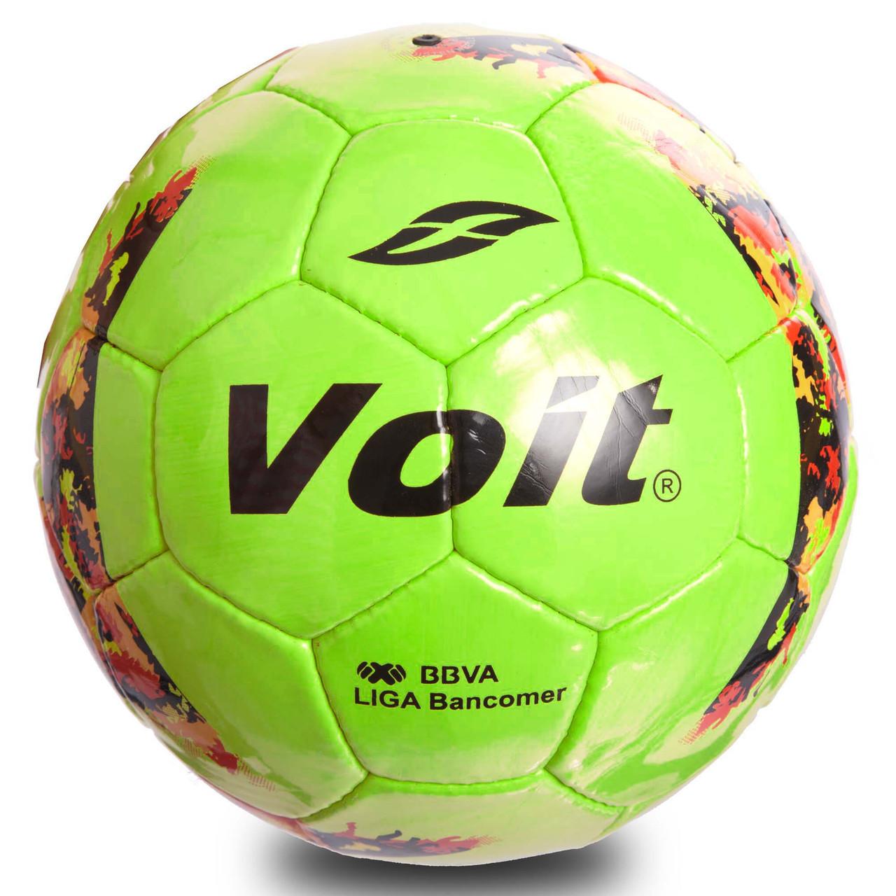 Мяч футбольный №5 PU ламин. VOIT FB-0717 (№5, 5 сл., сшит вручную, салатовый)