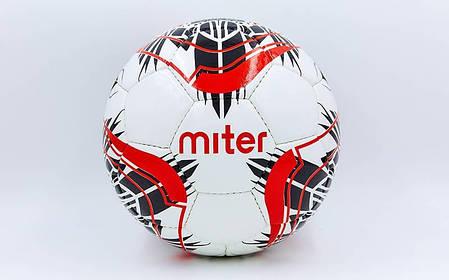Мяч футбольный №5 PU ламин. MITER FB-6762-2 белый (№5, 5 сл., сшит вручную), фото 2