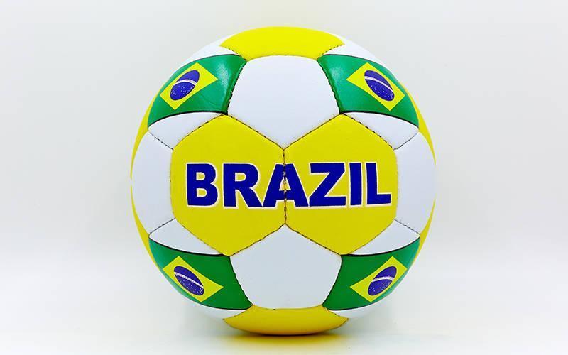 Мяч футбольный №5 Гриппи 5сл. BRAZIL FB-0047-139 (№5, 5 сл., сшит вручную)