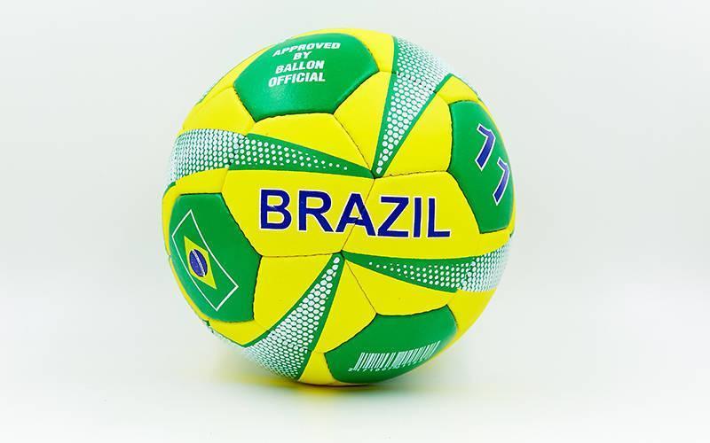 Мяч футбольный №5 Гриппи 5сл. BRAZIL FB-0047-751 (№5, 5 сл., сшит вручную)
