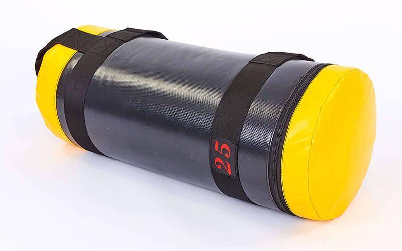 Мешок для кроссфита и фитнеса UR FI-6574-25 (PVC, нейлон, вес 25кг, р-р 56x22см, черный-желый)