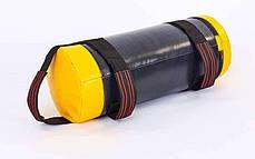 Мешок для кроссфита и фитнеса UR FI-6574-25 (PVC, нейлон, вес 25кг, р-р 56x22см, черный-желый), фото 2