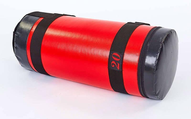 Мешок для кроссфита и фитнеса UR FI-6574-20 (PVC, нейлон, вес 20кг, р-р 56x22см, красный-черный)