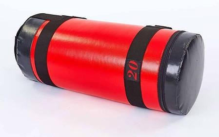 Мешок для кроссфита и фитнеса UR FI-6574-20 (PVC, нейлон, вес 20кг, р-р 56x22см, красный-черный), фото 2
