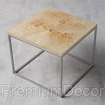 Стол из массива дерева тополя лофт мебель 70Х70Х46 см, фото 2