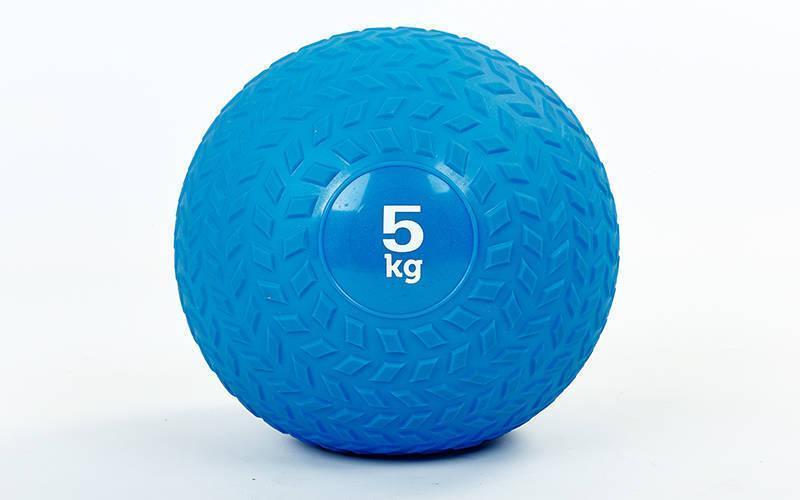 Мяч набивной слэмбол для кроссфита рифленый Record SLAM BALL FI-5729-5 5кг (PVC, минеральный наполнитель,