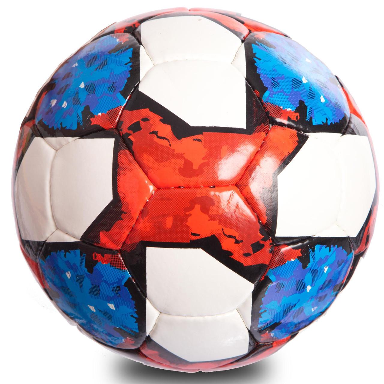 Мяч футбольный №5 PU ламин. FB-0711 (№5, 5 сл., сшит вручную, белый-синий-красный)