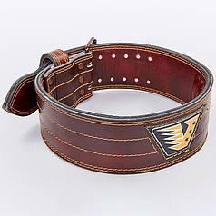 Пояс для пауэрлифтинга кожаный VELO VL-8185 (ширина-4in (10см), р-р S-XXL, на пряжке, коричневый)
