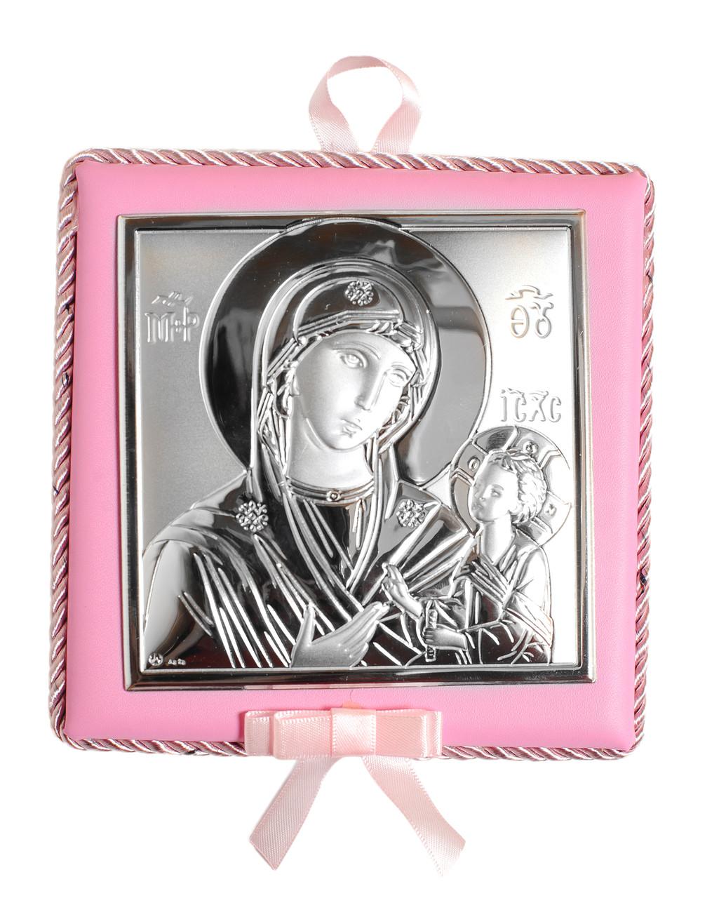 Серебряная Икона Владимирская Богородица14х14см. На розовой подушечке ( с музыкой)