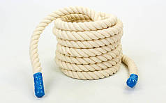 Канат для кроссфита COMBAT BATTLE ROPE UR R-6227-12 (хлопок, l-12м, d-4см, белый)