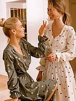 Легкое платье в контрастный горошек. Женская одежда. Весенняя коллекция РАЗНЫЕ ЦВЕТА