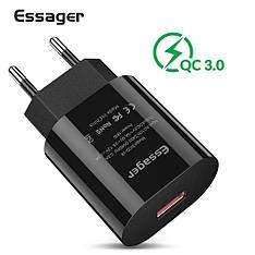 Універсальний зарядний пристрій Essager SCD-18 Black 18 вт Quick Charge 3.0 Швидка зарядка 3A