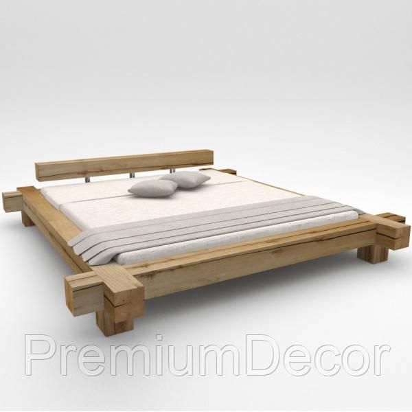 Кровать из балок в стиле лофт из натурального дерева дуба