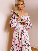 Хлопковое платье миди. Женская одежда. Весенняя коллекция РАЗНЫЕ ЦВЕТА