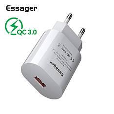 Універсальний зарядний пристрій Essager SCD-18 White 18 вт Quick Charge 3.0 Швидка зарядка 3A